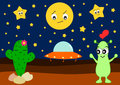 Funny cartoon alien in love with cute cactus humor illustration Royalty Free Stock Photo
