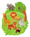 Funny cartoon animals in green jungle Royalty Free Stock Photography