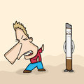 Funny cartoon avoiding cigarette for no smoking day of a man concept Stock Image