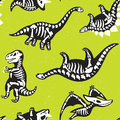 Funny cartoon background with fossil dinosaurs. Skeletons of the dinosaurs