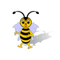 A funny cartoon bee isolated on a white background vector art illustration Stock Images