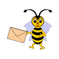 A funny cartoon bee with a letter in its hand vector art illustration on white background Stock Photos