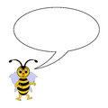 A funny cartoon bee with a talking bubble vector art illustration on white background Stock Photography