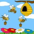 Funny Cartoon Bees Working