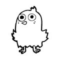 Funny cartoon bird black and white line in retro style vector available Stock Photography