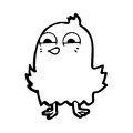 Funny cartoon bird black and white line in retro style vector available Stock Image