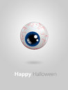Funny cartoon blue eye with halloween wishes over grey background Royalty Free Stock Photos