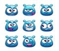 Funny cartoon blue jelly monster