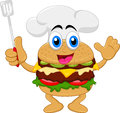 Funny cartoon burger chef character illustration of Royalty Free Stock Images