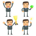 Funny cartoon businessman celebrates victory Stock Images