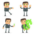 Funny cartoon businessman loves money Stock Images