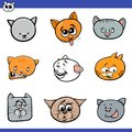 Funny cartoon cats heads collection