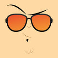 Funny cartoon character face illustration editable vector Royalty Free Stock Image