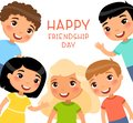 Friendship Day square poster. Five international children in a frame are smiling and waving.