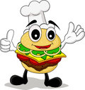 Funny cartoon chef burger Royalty Free Stock Photo