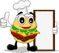 Funny cartoon chef burger Royalty Free Stock Photos