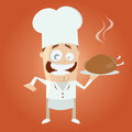 Funny cartoon chef with roast illustration of a Stock Image