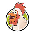 Funny cartoon chicken in a badge illustration of Stock Image