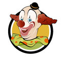 Funny cartoon clown in a badge Stock Photo
