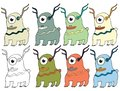 Funny cartoon colored write hand made draw doodle monster aliens deers