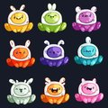 Funny cartoon colorful glossy aliens set. Little monsters collection. Royalty Free Stock Photo