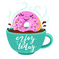 Funny Cartoon comic donut with smile face takes a bath in a cup of coffee.