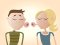 Funny cartoon couple kissing illustration of a Stock Image