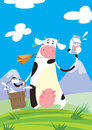 A funny cartoon cow with a big cowbell holding a bucket and presenting a milk package Stock Photography