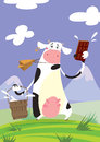 A funny cartoon cow with a big cowbell holding a bucket and presenting a milky chocolate Royalty Free Stock Photo