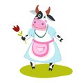 Funny cartoon cow with a flower in her hand dress and apron Stock Photos