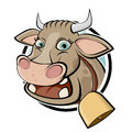 Funny cartoon cow illustration of a Royalty Free Stock Photography