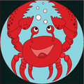 Funny cartoon crab on the colorless background