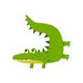 Funny cartoon crocodile character, friendly reptile vector Illustration