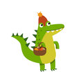 Funny cartoon crocodile character gathering mushrooms wearing knitted hat vector Illustration