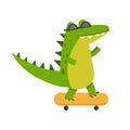 Funny cartoon crocodile character riding skateboard vector Illustration