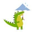 Funny cartoon crocodile character walking with umbrella vector Illustration