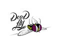 Funny cartoon dead fly with original typography Royalty Free Stock Photos