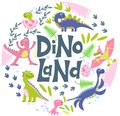 Funny cartoon dinosaurs collection. Dino color flat hand drawn vector