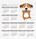 Funny cartoon dogs characters. Cute Beagle dancing calendar.