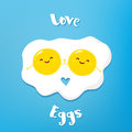 Funny cartoon eggs holding hands and smiles. Vector illustration