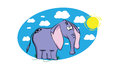 Funny cartoon elephant on a blue background with sun and white clouds Royalty Free Stock Image