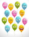 Funny cartoon emoji balloons set. Colorful smiley faces. Royalty Free Stock Photo