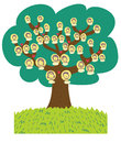 A funny cartoon family tree Stock Photos