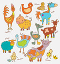 Funny cartoon farm animals collection Royalty Free Stock Photos