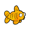 Funny cartoon fish retro with texture isolated on white Royalty Free Stock Photo