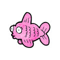 Funny cartoon fish retro with texture isolated on white Stock Image