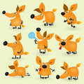 Funny cartoon fox set Stock Image