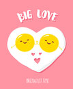 Funny cartoon fried eggs holding hands and smiles. Big love. Vector illustration