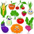 Funny cartoon fruit and vegetables vector set Royalty Free Stock Photo