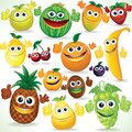 Funny cartoon fruits colorful clip art various Stock Photography